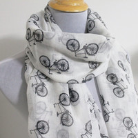 White Bicycle Scarf Off White with Black Bicycle Scarf Large Scarf