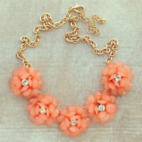 Pree Brulee - Peach Sparkling Bouquet Necklace