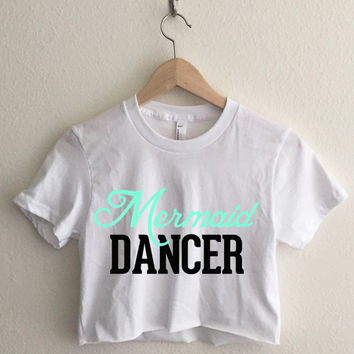 Mermaid Dancer Short Sleeve Cropped T Shirt