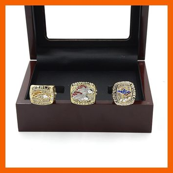 2015 High Quality Denver Broncos Set(1997/1998/2015) Super Bowl 50 Replica Championship Ring for Fans Men Jewelry