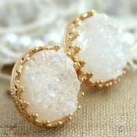 Crown Jewel Druzy Stone Earrings - White