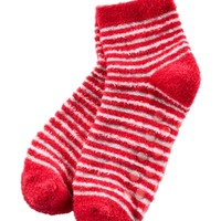 Shea-Infused Lounge Socks Hot Pink Stripes