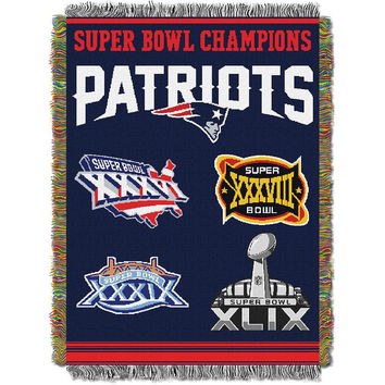 New England Patriots NFL Super Bowl Commemorative Woven Tapestry Throw (48x60)