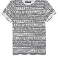 Cuffed Tribal Print Tee