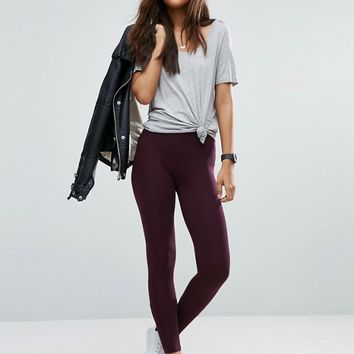 ASOS TALL High Waisted Leggings In Burgundy at asos.com