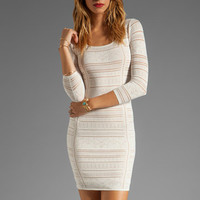 Catherine Malandrino 3/4 Sleeve Deep Square Neckline with Side Ruching in Moon from REVOLVEclothing.com