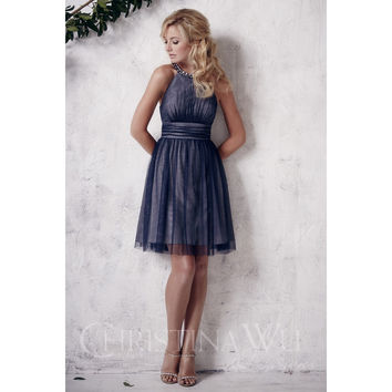 Christina Wu Occasions 22661 Short Beaded Tulle Bridesmaid Dress
