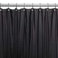 """Royal Bath Extra Long 5 Gauge Vinyl Shower Curtain Liner with Metal Grommets In Black, Size 72"""" Wide x 84"""" Long"""
