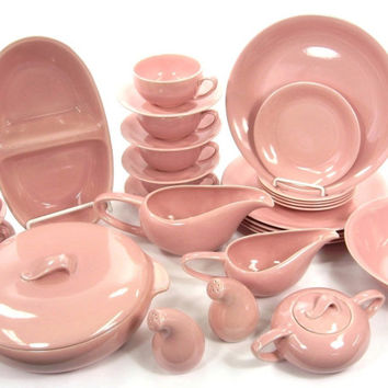 Vintage Housewares 1950's Vernonware Casual Calif Pink Dinnerware Set / Salt and Pepper / Covered Casserole / Cream and Sugar / Gravy Boat