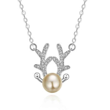 silver necklace women Antlers collares charm 8 3 MP