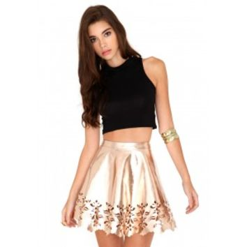 Missguided - Jandy Laser Cut Skater Skirt In Rose Gold