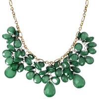 Fashion Statement Cluster Necklace - Gold/Green