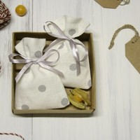 Linen favor bags set of 50, linen  bags, small gift bags, polka dot bags, gray ribbon