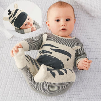 Keelorn 2017 New style baby boys clothes Zebra gray long-sleeved jumpsuit+hat babysuit 70 packets of foot children clothes