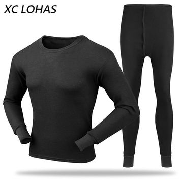 Hot Sale 1 Set Premium Cotton Blend Long Johns O-Neck Solid Men Thermal Underwear Long Johns High Quality Plus Size M-2XL