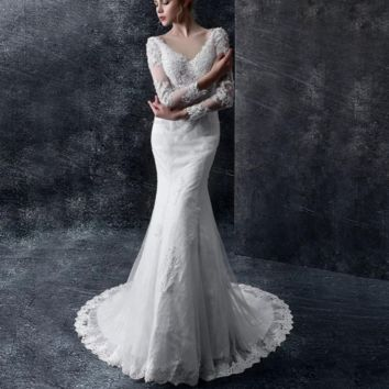 Luxury Wedding Dresses New Elegant V-Neck Lace Sexy Backless Bride Married Vintage Long Sleeve Wedding Gowns