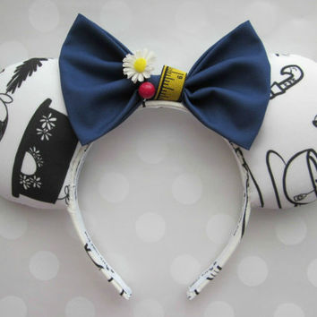 Mary Poppins Inspired Mouse Ears Headband, Custom Ears