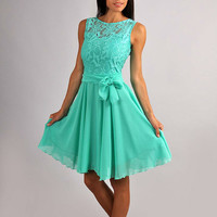 Bridesmaid Aqua Mint  Dress Chiffon,Lace Top  Dress  Wedding beach.