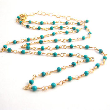 Green Turquoise Strand Necklace, Rosary Style, Gold, Sea Green, Wire Wrapped, Dainty Necklace