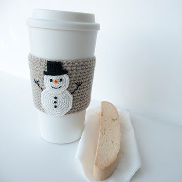 Cup Sleeve, Coffee cozy, crochet appliqued snowman, christmas, winter, carrot nose, crochet natural colored sleeve