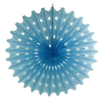 Decoration Hanging Paper Fan, 15-Inch, Light Blue