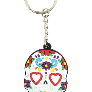 Day Of The Dead Mexican Flower Sugar Skull Rubber Key Ring KeyChain