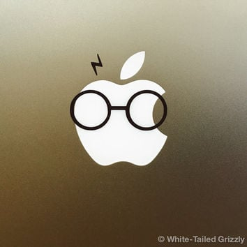 HARRY POTTER MACBOOK Decal - Macbook Apple decal - Macbook Apple light cover - Mac Decal - Apple Laptop Decal - Glasses and Lightning Bolt