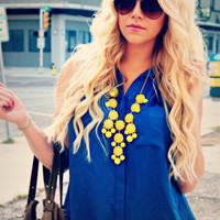 Yellow Bubble Necklace, Statement Necklace, Bib Necklace, J Crew Inspired, FREE SHIPPING