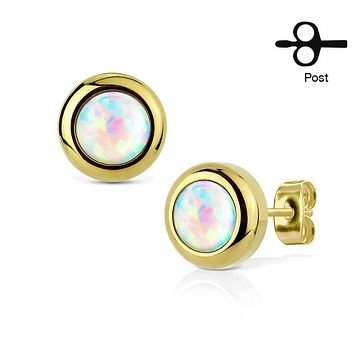 Pair of IP Plated 316L Surgical Stainless Steel WildKlass Stud Earrings with Bezeled White Opal