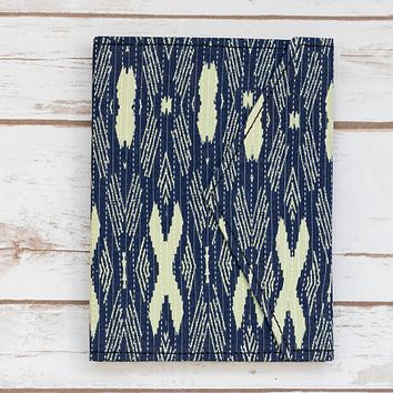 Blue Ikat Fabric Handmade Journal