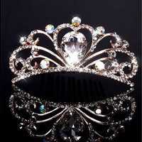 Fashion Wedding Bridal Crystal Rhinestone Headband Crown Tiara Prom Jewelry [7981371079]