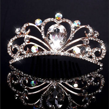 Fashion Wedding Bridal Crystal Rhinestone Headband Crown Tiara Prom Jewelry [7981398855]