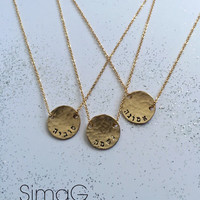 word.. name... initial necklace - Simple ... Feminine ... Modern ... SMALL Hammered Gold Disc - By SimaG jewelry