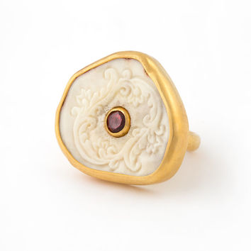 Deer antler and garnet ring set in 22k gold vermeil, hand carved deer antler with Bali design