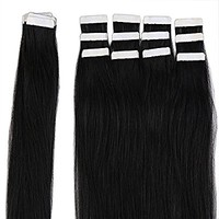 "Top 16"" 18"" 20"" 22"" Tape in Hair Extensions 100% Real Remy Human Hair 20pcs 50g per pack (22""-50g,#1B Natural Black)"