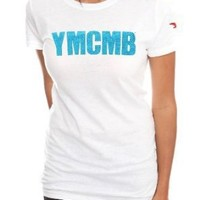 YMCMB Blue Glitter Logo Girls T-Shirt Plus Size