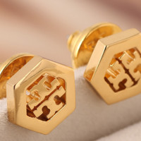 Tory burch hexagonal geometric hollow-out letters logo ear nail earrings female