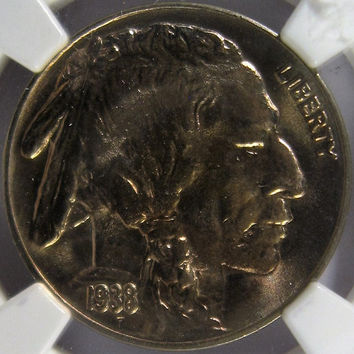 1938 D USA Indian Head Buffalo Nickel,NGC MS 65, Slabbed Five Cent Nickel Uncirculated Coin,Buffalo Nickel Coin,Collectable Coin Indian Head