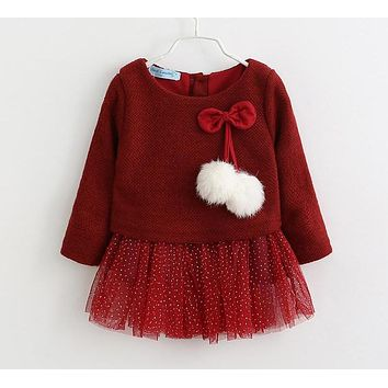 Baby Girls Dress New Spring Long Sleeve Princess Dress Kids Clothes Children Bow Dresses Princess
