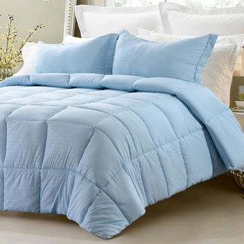 3pc Reversible Solid/ Emboss Striped Comforter Set- Oversized and Overfilled