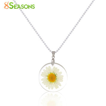 Handmade Boho Transparent Resin Dried Flower Daisy Necklace Ball Chain Silver Plated White Round 45cm long,1 Piece