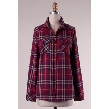 Plaid Button Up Shirt with Elbow Patches in Burgundy