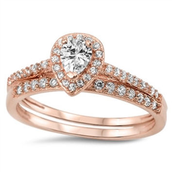 A Perfect 18K Rose Gold 1.5TCW Pear Cut Halo Russian Lab Diamond Bridal Set Wedding Band Ring