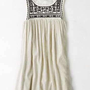 AEO Women's Embroidered Shift Dress (Cream)