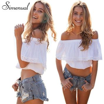 SHIRT Bohemian off shoulder summer crop top blouses shirts lace splice white tops for women slash neck sexy hot short blouse
