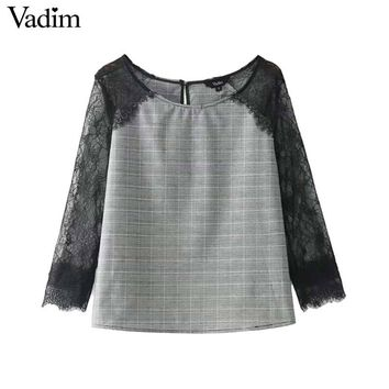 Women sweet lace patchwork plaid shirt hounds tooth long sleeve blouse vintage autumn fashion casual tops