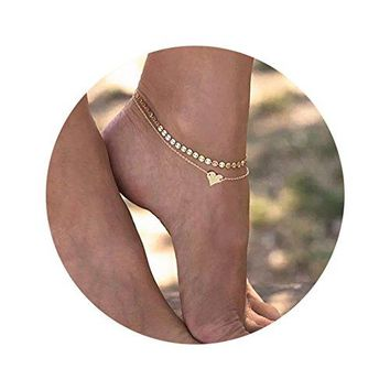 "Daycindy Multilayer Infinite Love Charms Coin Chain Anklets for Women, 11"" Golden"