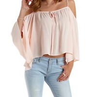 Apricot Tie-Neck Cold Shoulder Top by Charlotte Russe