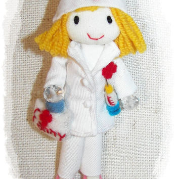 Nurse Doll Pin Brooch  Medical Bag Syringe  Hat Customizable Name 3.5 in 9 cm Scale 1:12 Custom Order