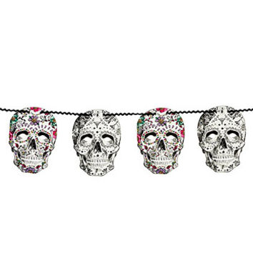 Day of the Dead Sugar Skulls Garland Decoration
